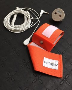 Earthing wristband with coil cord and EU adapter for wrist or ankle